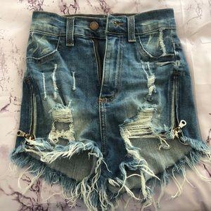 Fashion Nova Ripped Jean Shorts